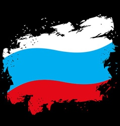 Russian flag grunge style on black background vector image