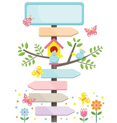 Spring Season with Birds and Direction Signs vector image vector image