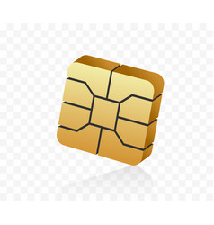 3d style emv microchip nfc technology for secure vector image