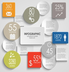Abstract colored round rectangle info graphic vector