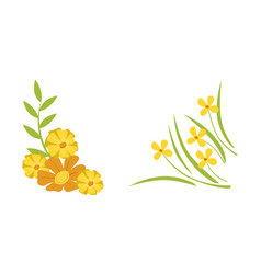 abstract elegant floral frame spring yellow vector image
