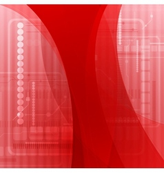 Abstract red wavy tech background vector
