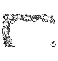 Apple border is a decorative border vintage vector