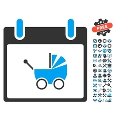Baby Carriage Calendar Day Icon With Bonus vector