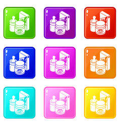 baby food icons set 9 color collection vector image