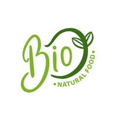 bio natural food organic logo with green sprout vector image