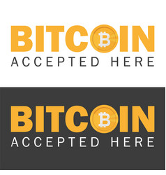 bitcoin accepted sticker icon banner with text vector image