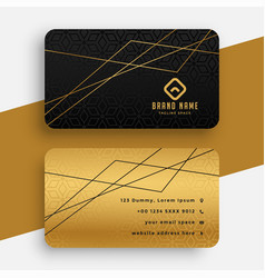 Black and gold business card with geometric lines vector