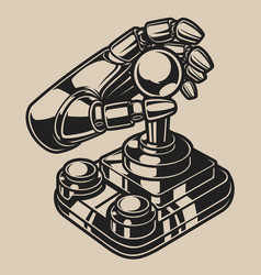 black and white with retro joystick vector image