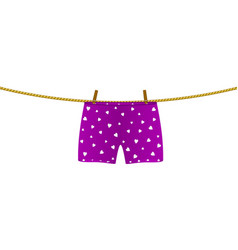 boxer shorts with white hearts hanging on rope vector image