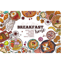 breakfast menu hand drawn template vector image