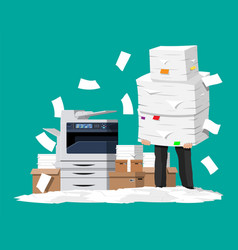 Businessman in pile of office papers and printer vector