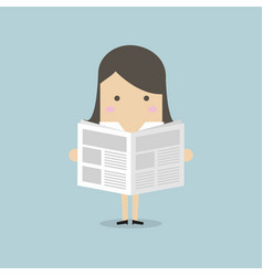 businesswoman standing and reading a newspaper vector image