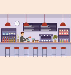 cafe interior room bar barista holds a vector image