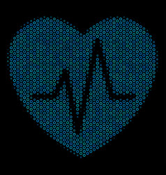 Cardiology collage icon of halftone circles vector