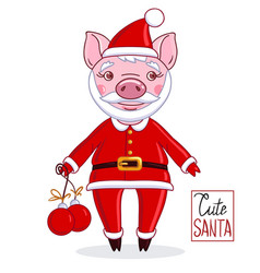 cartoon character piglet in the role of santa vector image