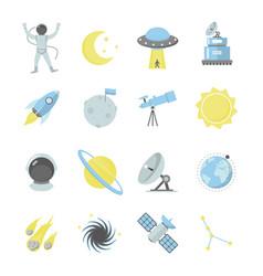 cartoon color cosmos sign icon set vector image