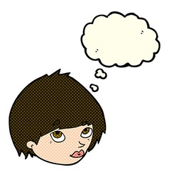 Cartoon female face looking up with thought bubble vector