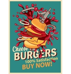 Cheeseburger with splashes of explosion vector