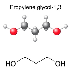 Chemical formula and model of propylene glycol vector image