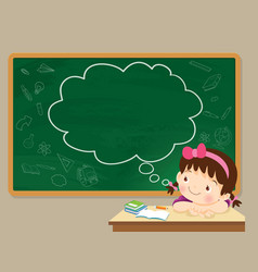 children girl thinking and chalkboard vector image