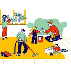 Children help mother to clean home little helpers vector
