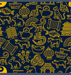 chinese new year horoscope seamless pattern vector image