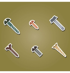 color icons with screws vector image