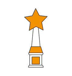 Color silhouette image trophy with symbol star vector