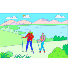 Couple outdoorsman male female hold hand hiking vector