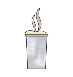 Cup beverage foam hot break outline vector