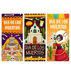 Day dead or mexican dia de los muertos banners vector