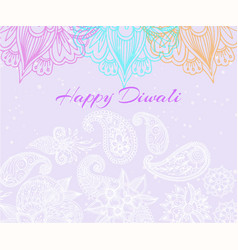 diwali festival background with beautiful rangoli vector image