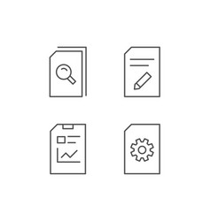 document report and edit file line icons vector image