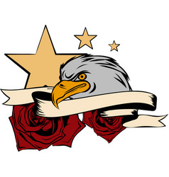 Eagle and rose graphic design art vector