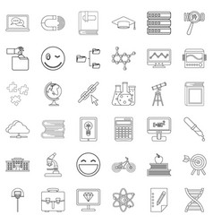 education icons set outline style vector image