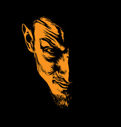 Evil man portrait silhouette in contrast backlight vector
