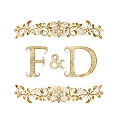 F and d vintage initials logo symbol vector