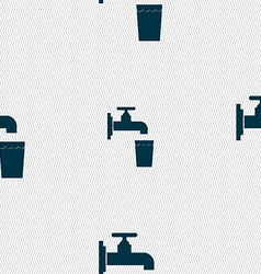 faucet glass water icon sign Seamless pattern with vector image