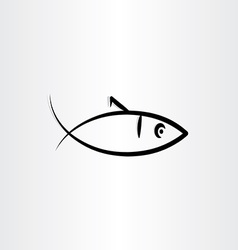 Fish symbol black icon vector
