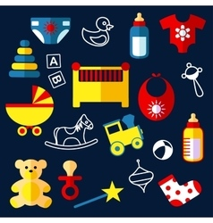 Flat baby toys and objects vector