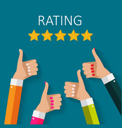 Flat design hand with star rating evaluatio vector