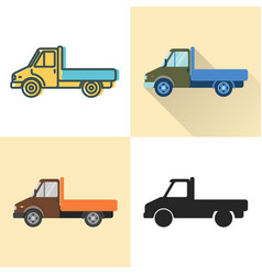 Flatbed truck icon set in flat and line styles vector