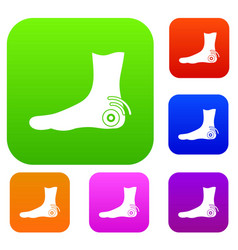 foot heel set color collection vector image