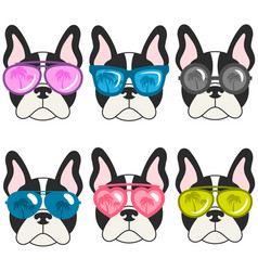 French bulldogs with sunglasses vector