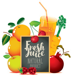 fresh juice banner with fruits and blackboard vector image
