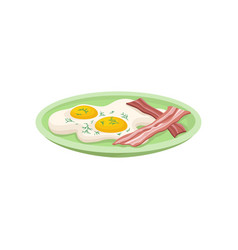 fried egg with bacon on a plate fresh nutritious vector image