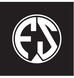 fs logo monogram circle with piece ribbon style vector image