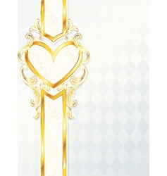 gold heart emblem vector image