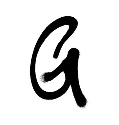 Graffiti style letter g with a spray in black over vector